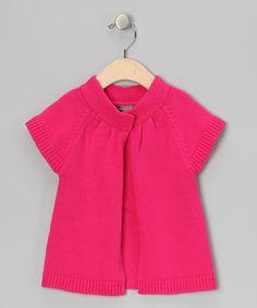 Look at this #zulilyfind! Magenta Short-Sleeve Cardigan - Infant by Petit Confection #zulilyfinds