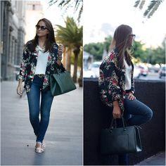 Sheinside Kimono, Zara Jeans, Stradivarius Shirt, Mango Bag, Natura Sandals