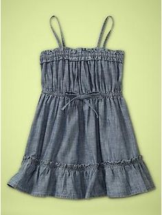 """Toddler denim dress, a great addition to her wardrobe for spring. Pair it with brightly colored accessories, such as this linen flower hair clip in """"Lime Juice"""" http://www.bittybowsboutique.com/lindsay.-linen-flower-clip-or-headband.-16-colors.html"""