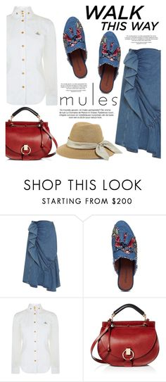 """""""Slip 'Em On: Mules"""" by helenevlacho ❤ liked on Polyvore featuring J.W. Anderson, Vivienne Westwood Red Label, Chloé, Eugenia Kim, mules and contestentry"""
