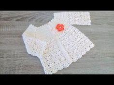 Crochet Baby Cardigan, Crochet Collar, Baby Girl Crochet, Crochet Baby Clothes, Crochet For Kids, Knit Crochet, Crochet Hats, Boys Knitting Patterns Free, Baby Patterns