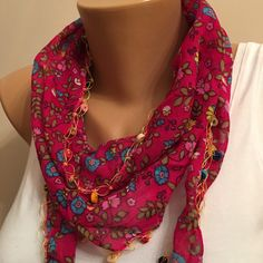 A personal favorite from my Etsy shop https://www.etsy.com/listing/258354316/red-floral-scarflace-scarfwomens