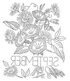 vintage flowers embroidery or redwork september