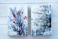 A couple of my mini encaustics, since sold by Sandy Middleton