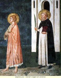 Pietro Cavallini - Crocifissione, dettaglio - affreschi - 1308 circa- Cappella Brancaccio, Chiesa San Domenico Maggiore, Napoli