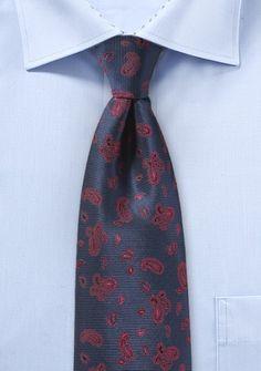Krawatte Paisleymotiv navyblau rot