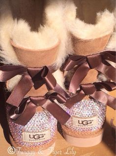 Chestnut Ugg Bailey Bow Boots with by TwiggyAndTigerLily on Etsy WANT SOO BAD!!