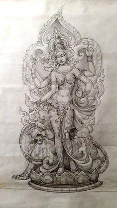 Durga Painting, Tanjore Painting, Girly Drawings, Art Drawings Sketches, Parrot Painting, Snake Art, Madhubani Art, Ganesha Art, Goddess Art