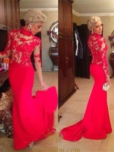 9f15951cc61a6 Red Illusion High Collar Long Sleeve Lace Bodice Mermaid Prom Dress SKU  -AP336