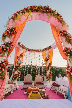 Wedding Decor - Beautiful Floral Mandap Setup | WedMeGood #indianbride #indianwedding #mandap #floral #decor