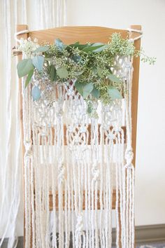 Macrame Chair Back / Natural White Cotton Rope / Wall Hanging