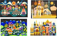 I don't know if these are by Mary Blair or just inspired by her.  I'm trying to figure out if I can buy the prints or if I should just try to duplicate them...painting? applique? embroidery? What do you think??
