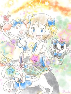 Serena and all of her Pokémon