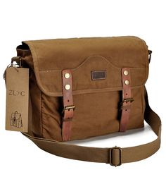 ZLYC Canvas Camera Bag Vintage Military DSLR SLR Messenger Bag with Removable Shockproof Insert, Camel -- You can get more details by clicking on the image.