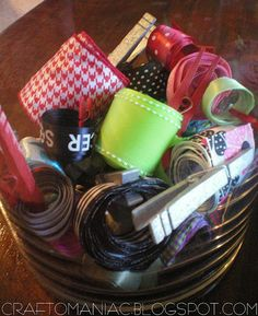 Organized Ribbon Ideas: scrap ribbon that you don't want to throw out clipping them with clothes pins.