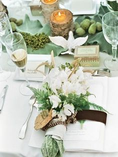 {Tablescape} Green/white florals with birch candles