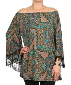 Another great find on #zulily! Teal Mandala Crochet Fringe Off-Shoulder Tunic by Vision #zulilyfinds