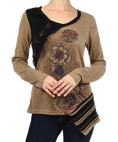 Take a look at this Farinelli Mocha Floral Sweater on zulily today!
