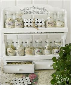 button storage in a re-purposed spice rack