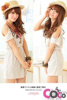 Grey Waisted Summer Korean Fashion Dress