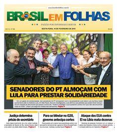 """Senadores do PT almoçam com Lula para prestar solidariedade  Em um gesto de solidariedade, dez senadores do PT almoçaram com o ex-presidente Luís Inácio Lula da Silva nesta quinta-feira (18) no Instituto Lula, em São Paulo. Alvo de investigações, Lula afirmou aos petistas que podem ficar tranquilos em relação às denúncias que pesam contra ele. """"Podem investigar o que quiserem contra mim que não vão encontrar nada de ilícito"""", disse Lula segundo relatos dos senadores."""