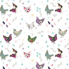 """Patchwork Hens 5.25"""" fabric by shopcabin on Spoonflower - custom fabric"""