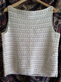 solyih : crocheted cotton blend boatneck tank pattern – The Best Ideas T-shirt Au Crochet, Cardigan Au Crochet, Mode Crochet, Black Crochet Dress, Crochet Shirt, Crochet Stitches, Crochet Patterns, Crochet Tutorial, Bracelet Crochet
