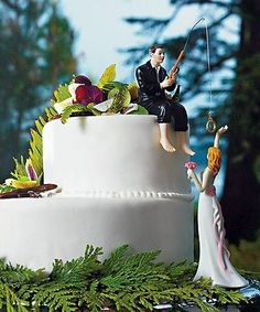Hooked on Love Fishing Groom with Reaching Bride Wedding Cake Topper
