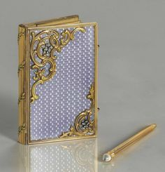 A JEWELED TWO-COLOR GOLD-MOUNTED AND GUILLOCHÉ ENAMEL CARNET-DE-BAL   MARKED FABERGÉ, WITH THE WORKMASTER'S MARK OF MICHAEL PERCHIN, ST. PETERSBURG, CIRCA 1890, SCRATCHED INVENTORY NUMBER 56987