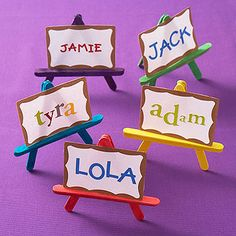 Let out the artist inside with a dazzling display of art supplies in this theme party.                 Adhere sticker letters on name tags, then display them on a Popsicle-stick easel.                 What you'll need: Popsicle sticks, hot-glue gun, self-adhesive name badge with gold border, 1/2 to 1 inch sticker letters                 Make it Hot-glue two Popsicle sticks together to form a V. Glue a third Popsicle stick in place to form an A, then glue the thin side of a fourth Popsicle…