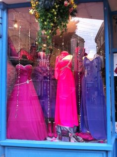 Pink and Purple window display