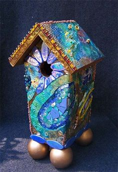 "The Freedom of All Flying Things: Joni's Birdhouse 2009, Susan Crocenzi, Mosaic 16 x 7 x 7"" Materials: Handmade polymer clay tiles, tempered glass, glass tiles, glass frit, dyed pebbles, ceramic, millefiore, metal findings, seed beads"