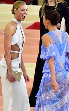 Karlie Kloss & Irina Shayk from Candid Moments From Met Gala 2016  Cut-out queens! Thesetwo models looked gorgeous (and excited!) on the carpet.