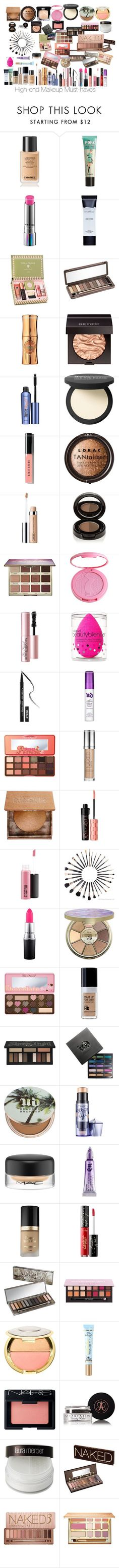 """High End Makeup Must-haves"" by jerzeypeach ❤️ liked on Polyvore featuring beauty, Chanel, Benefit, MAC Cosmetics, Smashbox, Urban Decay, Hoola, Laura Mercier, It Cosmetics and Bobbi Brown Cosmetics"
