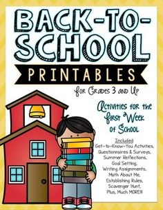 Back to School Printables for grades 3 and up!