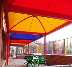 Multi-coloured school structures. Playground shade and shelter for weather.