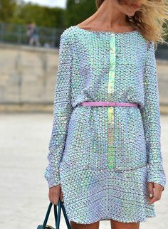 Natalie Joos rocks a hologram dress on the streets of Fashion Week. This is an amazing holographic street style look.