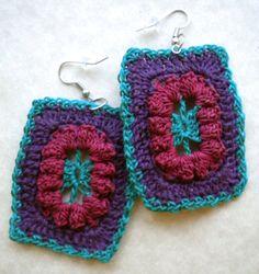 Funky Retro Rectangle Crochet Earrings, Fuchsia, Purple and Teal $8