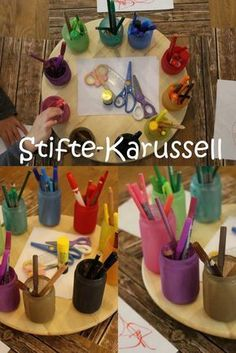 Upcycling von Babygläschen, Stifte-Karussell, DIY, basteln mit Kindern Upcycling of baby glasses pins carousel DIY tinker with kids Baby Glasses, Kids Glasses, Baby Jars, Baby Food Jars, Recycled Crafts Kids, Diy And Crafts, Tetra Pack, Diy For Kids, Crafts For Kids