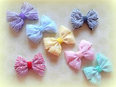 Set of 7 Lace Double Bows, Hair Clips, Bobbles, Hair Accessories - pinned by pin4etsy.com