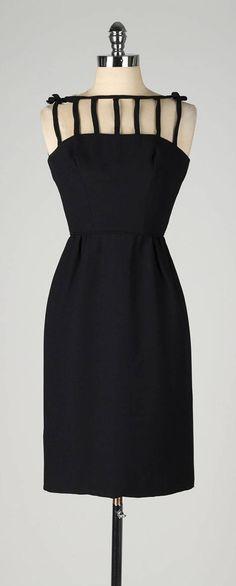 Vintage 1950s Black Caged Top Cocktail Dress