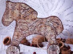 Декор предметов Новый год Декупаж Лошадки Шоколадные пряники с сахарной пудрой Картон Краска Салфетки фото 4