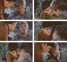 .merlins face. he knows it's the end but tries to deny it. The look on his face is like the realization hit him that he doesn't want a day off, he just wants Arthur to be alive and well... Trying so hard not to cry after all this time