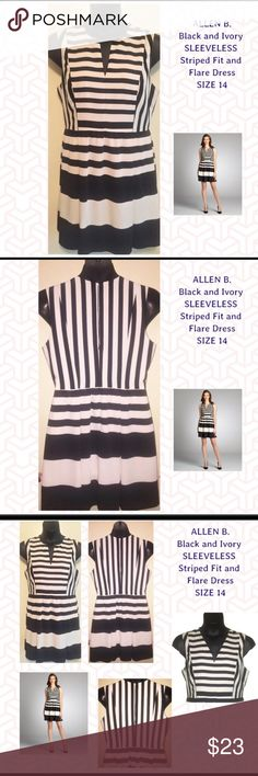 Allan B. Black and cream flare skirt dress Striped dress with fitted top and flare skirt. Fully lined.  Cream and white. No flaws. Allen B. By Allen Schwartz Dresses Midi