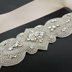 Dramatic Crystal Bridal Sash with light blush ribbon.  Choose from 16 different ribbon colors!