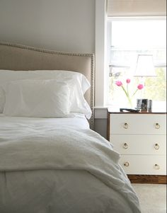 Aubrey bed from Crate & Barrel. Wall color is Benjamin Moore Classic Gray