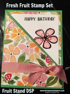Simple card made using Stampin' Up! FRESH FRUIT stamp set & FRUIT STAND DSP. All the details are on the blog! Created by Jackie Bolhuis, Stampin' Up! Demonstrator. 100's of StampinUp card ideas on blog.