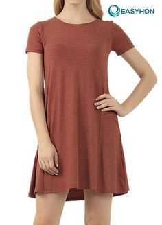 EASYHON Women's Short Sleeve Casual Loose T-Shirt Dress >>> Awesome product. Click the image : Dresses