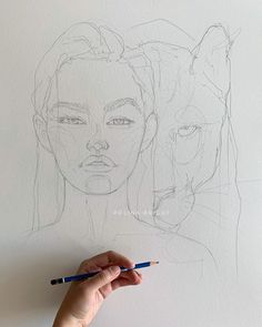 Polina Bright first draft drawing on a new artwork. Cool Art Drawings, Pencil Art Drawings, Art Drawings Sketches, Kunstjournal Inspiration, Art Journal Inspiration, Art Inspo, Kunst Portfolio, Kunst Inspo, Art Reference Poses