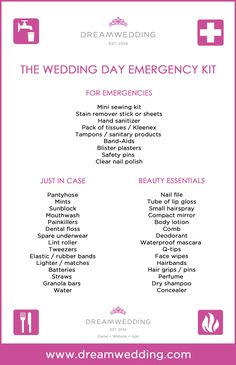 Wedding Planner Emergency Kit List | deweddingjpg.com